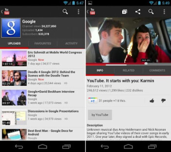 New updated YouTube app