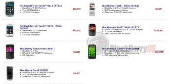 Pricing for AT&T BlackBerry phones at Walmart with a new 2-year contract