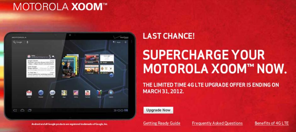 The Motorola XOOM upgrade website shuts on March 31st - Motorola XOOM 4G updates expire on March 31st