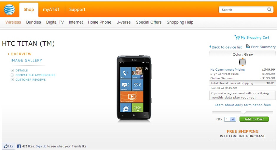 The HTC Titan for AT&T now costs a penny - HTC Titan for AT&T can be yours for a penny