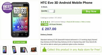 SIM-free HTC EVO 3D is selling at its lowest mark at $325 in the UK