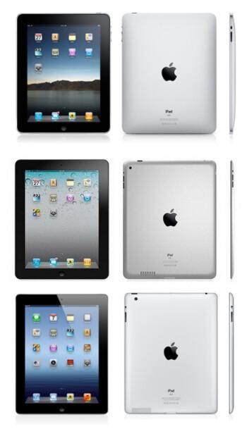 The Apple iPad, iPad 2, and The new iPad