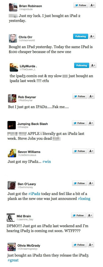 "People stuck with ""the old iPad"" tweet all about it"