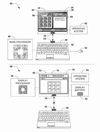 Microsoft's patent for a converting tablet - Microsoft patent allows a tablet to convert to a laptop or desktop computer