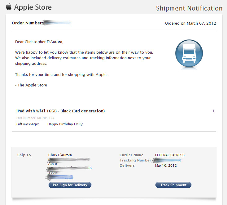 Some of those who pre-ordered the Apple iPad 3 are receiving notifications that it has shipped - Some of those who ordered the Apple iPad 3 are receiving shipping notification