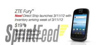 The ZTE Fury for Sprint