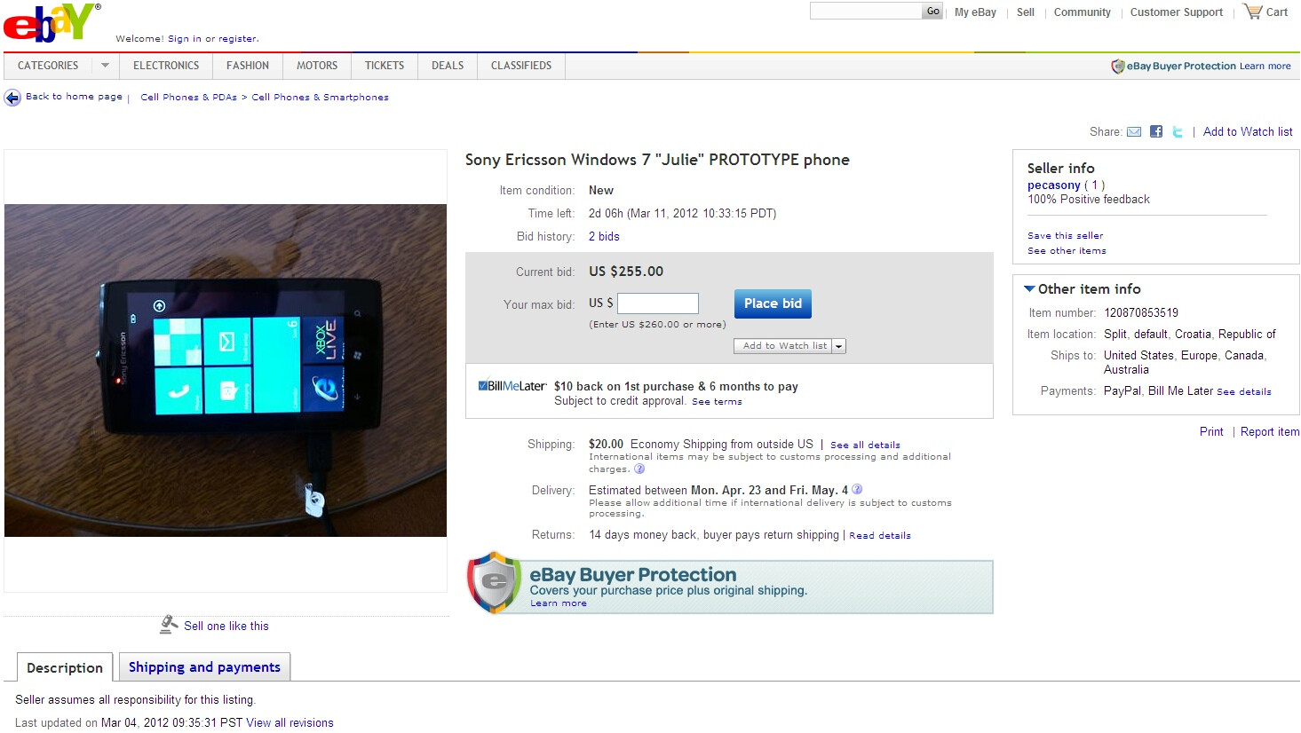 Sony ericsson windows phone prototype ends up on ebay for Windows for sale