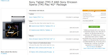 Get a Sony Tablet P and a Sony Ericsson Xperia PLAY 4G for $299.99
