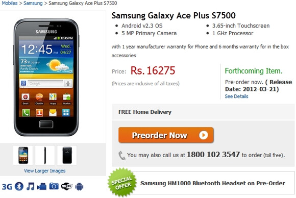 The Samsung Galaxy Ace Plus is now available for pre-order - Samsung Galaxy Ace Plus coming to India for March launch