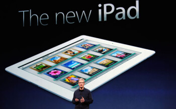 Tim Cook (L) introduces the new Apple iPad (R)