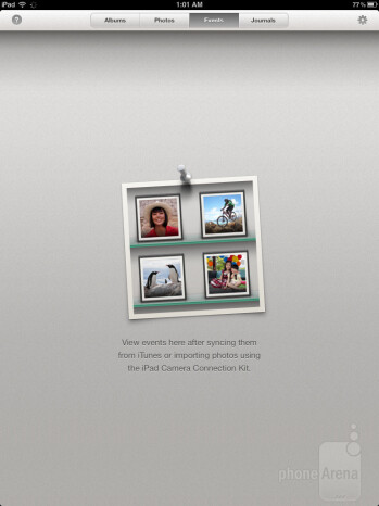 Upon launching iPhoto for iPad, we're presented with four main tabs