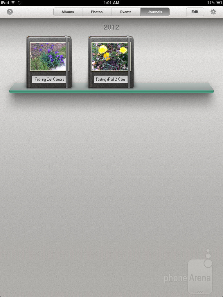 Upon launching iPhoto for iPad, we're presented with four main tabs - iPhoto for iPad Review