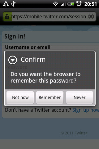 Don't store account passwords