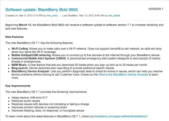 T-Mobile BlackBerry Bold 9900 and Torch 9810 are being updated to BlackBerry OS 7.1