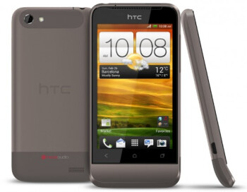 The HTC One V in purple (L), black (C) and the grey it was wearing at MWC (R)