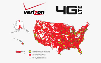Verizon coverage map, up to date as of March 2012