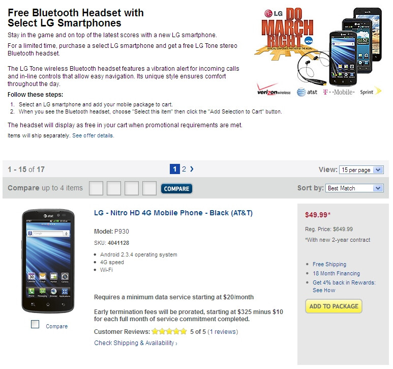 LG Nitro HD is down to $50 at Best Buy - LG Nitro HD down to $50 at Best Buy