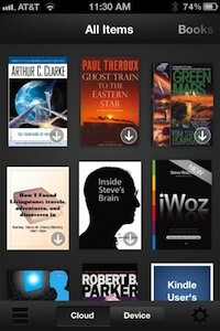 The new cloud view (L) and device view (C) - Amazon updates its Kindle app to support Retina display
