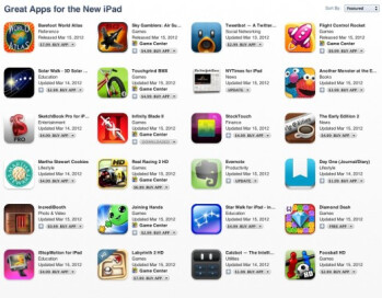 "Apple introduces ""Great apps for the new iPad"" section on iTunes"