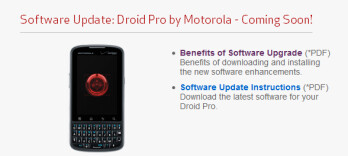 An update is on the way for the Motorola DROID PRO