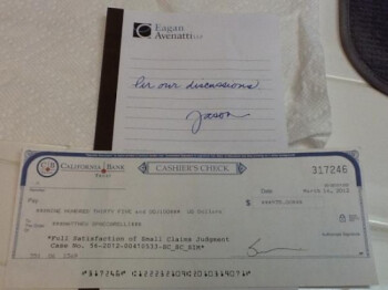 Spacarelli's check from AT&T