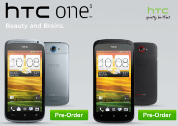 The quad-core powered HTC One X in white and black, and the HTC One S in grey and black