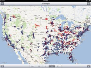 Verizon (red) LTE vs AT&T (blue) HSPA+ coverage