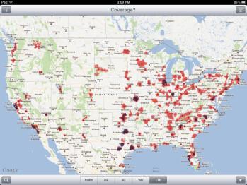 Verizon (red) vs AT&T (blue) LTE coverage