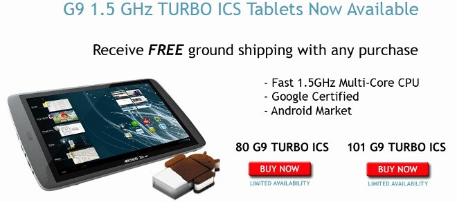 Archos 80 G9 and 101 G9 tablets updated to ICS, get speedier