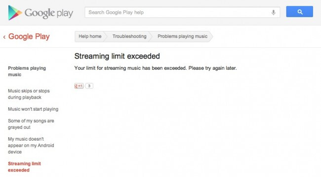 Google Music has a daily streaming limit