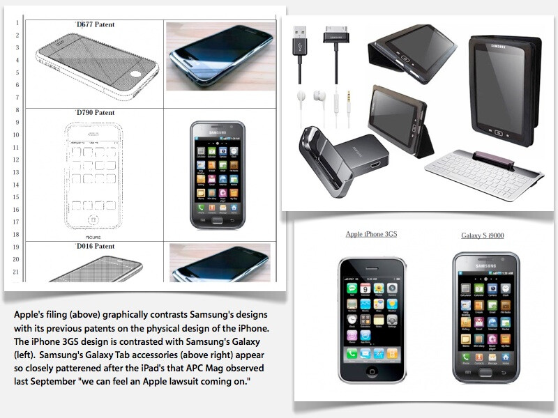 Apple's filing contrasts Samsung's products with Apple's designs - Apple and Samsung met four times in 2010 to try to prevent patent litigation