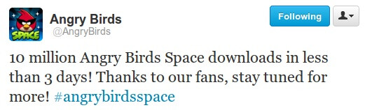 Angry Birds Space hit 10 million downloads in three days