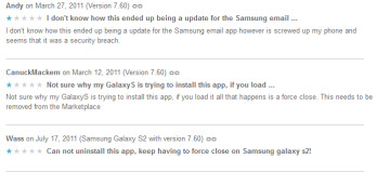 Some Samsung owners were surprised to find MTS Mobile Mail on their device (L), Removal instructions (R)