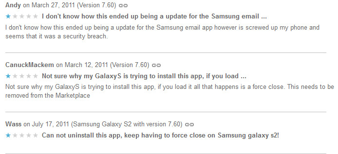 Some Samsung owners were surprised to find MTS Mobile Mail on their device (L), Removal instructions (R) - Russian email app mistakenly loaded on some Android powered Samsung devices by Google Play