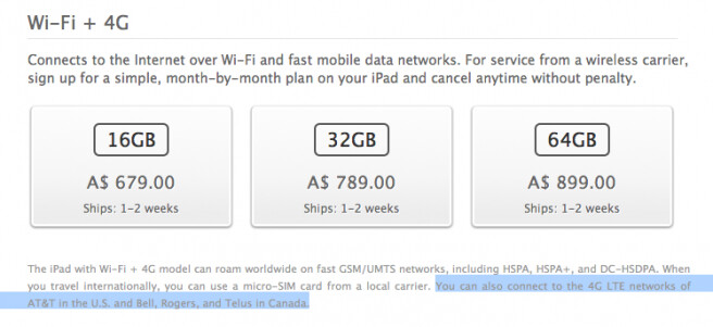 """Here is how Apple markets the iPad in Australia. - Apple accused of falsely advertizing iPads as """"4G"""" devices in Australia"""