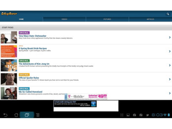 The College Humor Android tablet app looks like a mobile website, while the iPad app looks neat and organized