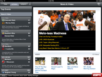 ESPN ScoreCenter for Android tablets looks quite bland when compared to its iPad version