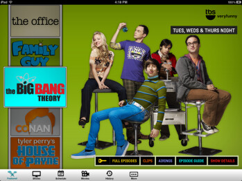 The TBS app for Android tablets is on the left, and the iPad TBS app is on the right