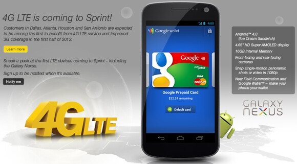 Sprint's Samsung GALAXY Nexus will be the carrier's first LTE phone - Sprint makes it official; no more WiMax phones