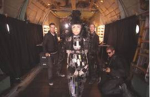 Roberta Mancino in her futuristic outfit - HTC One smartphones taken 12,000 feet in the sky, take photos of models