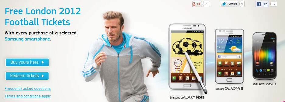 Buy a selected Samsung smartphone from Phones4u and get two free tickets to an Olympic Football match - Buy a selected Samsung smartphone from Phones4u and see Olympic Football free