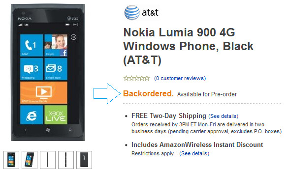 With the Nokia Lumia 900 already on backorder at Amazon, the device has captured the top two spots on the retailer's Best Sellers list for AT&T (R) - Nokia Lumia 900 on backorder at Amazon; tops online retailer's AT&T Best Sellers list