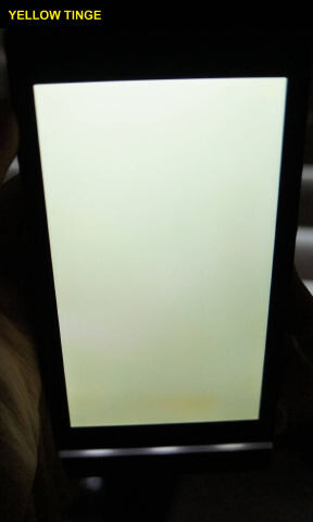 The yellow tint is present on the displays of some Sony Xperia S units under certain conditions