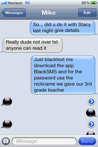 Black SMS for iPhone encrypts your texts with a password, keeps prying eyes at bay