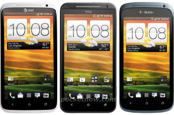 The Sprint HTC EVO One is in the middle, the AT&T HTC One X - on the left and T-Mobile's HTC One S on the right.