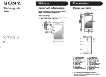The Sony Xperia P has visited the FCC and the User Guide (R) was part of the documentation