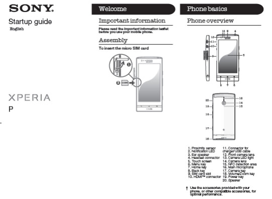 The Sony Xperia P has visited the FCC and the User Guide (R) was part of the documentation - Sony Xperia P visits the FCC, no carrier branding in sight
