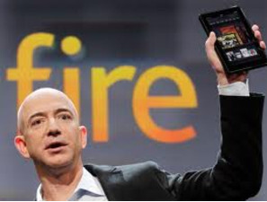 Amazon's Jeff Bezos and the Amazon Kindle Fire - Non-Google Experience Android smartphone appears likely to hit market this year