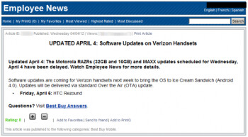 Best Buy says ICS for the RAZR delayed, Rezound still on for Friday