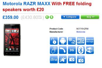 Pre-order the Motorola RAZR MAXX from Clove and get a free Motorola MOTOROKR EQ3 folding speaker (R)